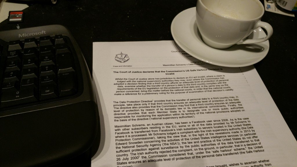 The verdict from the ECJ, and a large cup of coffee.