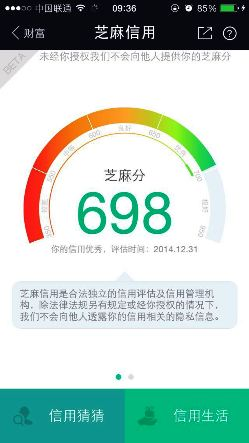 A screenshot from the Sesame Credit app, showing score 698 on a scale from 350 to 950.