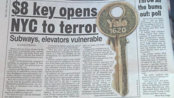 The New York Post has a scare story that a master key is on the loose, and publishes a huge image of it