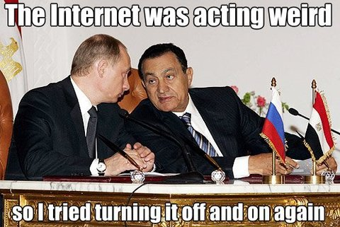 Egyptian ex-president Mubarak turned the Internet off and back on again