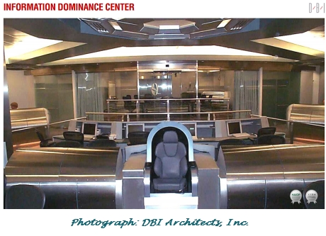 Photo from NSA's Information Dominance Center. Photo via the architects, via the Intercept.