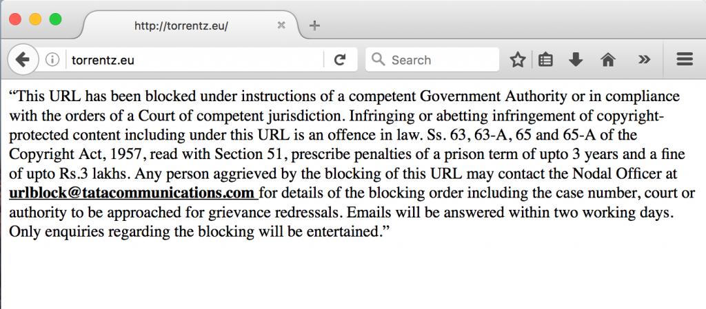 blocked website warning india