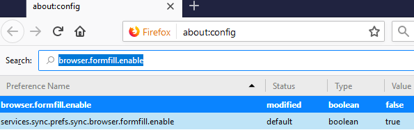 Disable Formfill for strong Firefox security