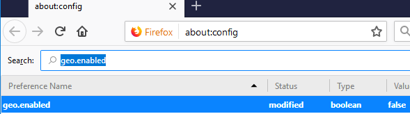 Disable Geolocation for stronger Firefox Privacy