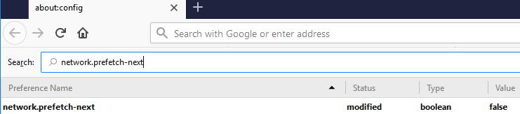 Disable prefetch for strong Firefox Security