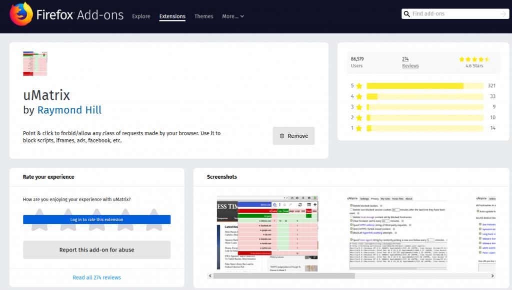UMatrix – A Powerful Firefox Extension to Enhance Security
