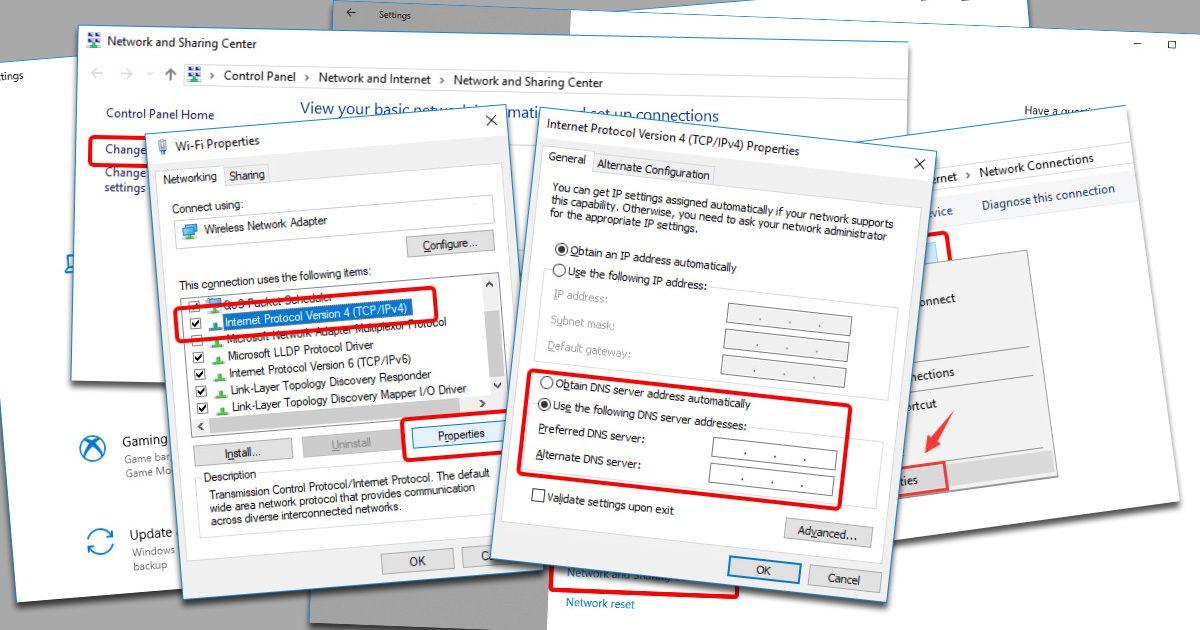 Update DNS settings on Windows 10