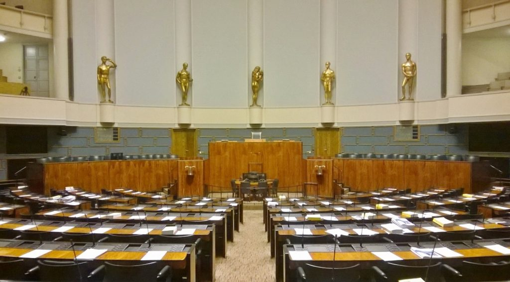 empty finnish parliament