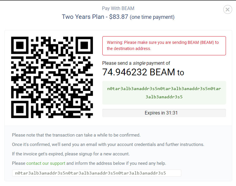BEAM payment