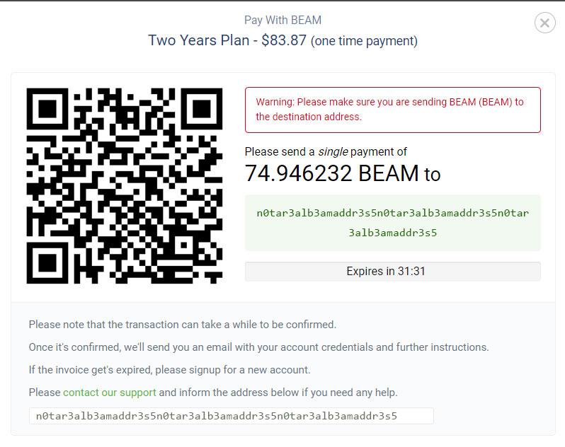 BEAM payment