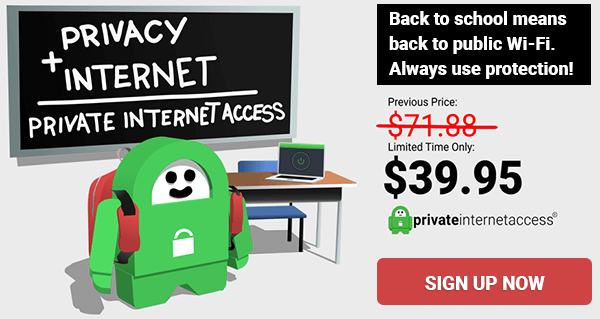 Back to School ad for Private Internet Access