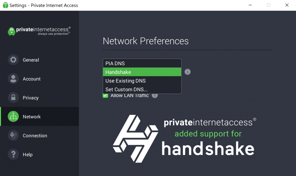 Private Internet Access added support for Handshake