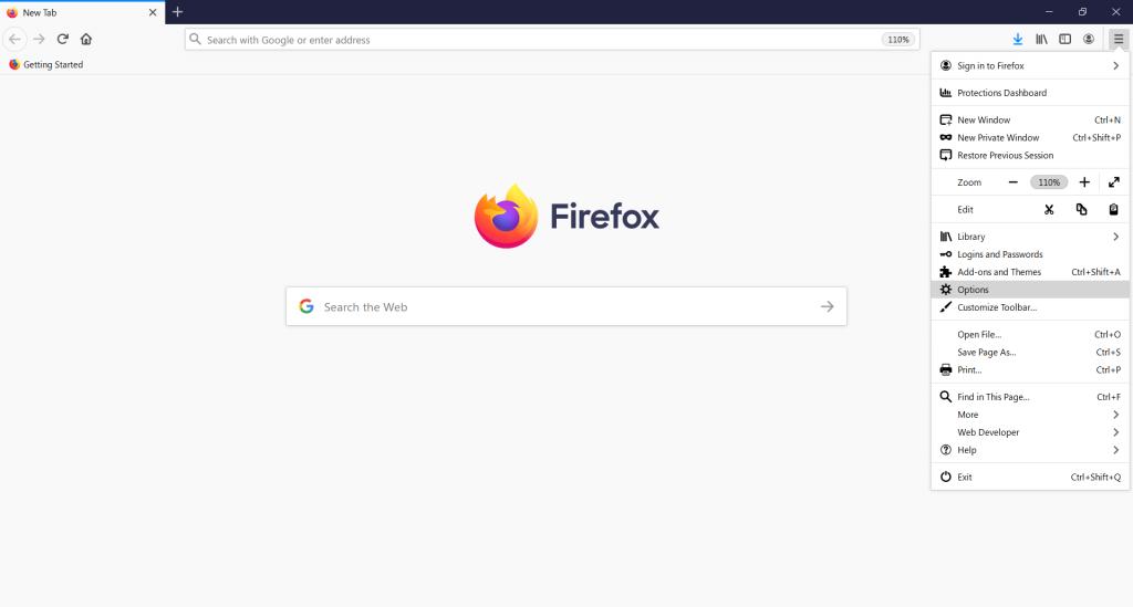 Firefox settings menu