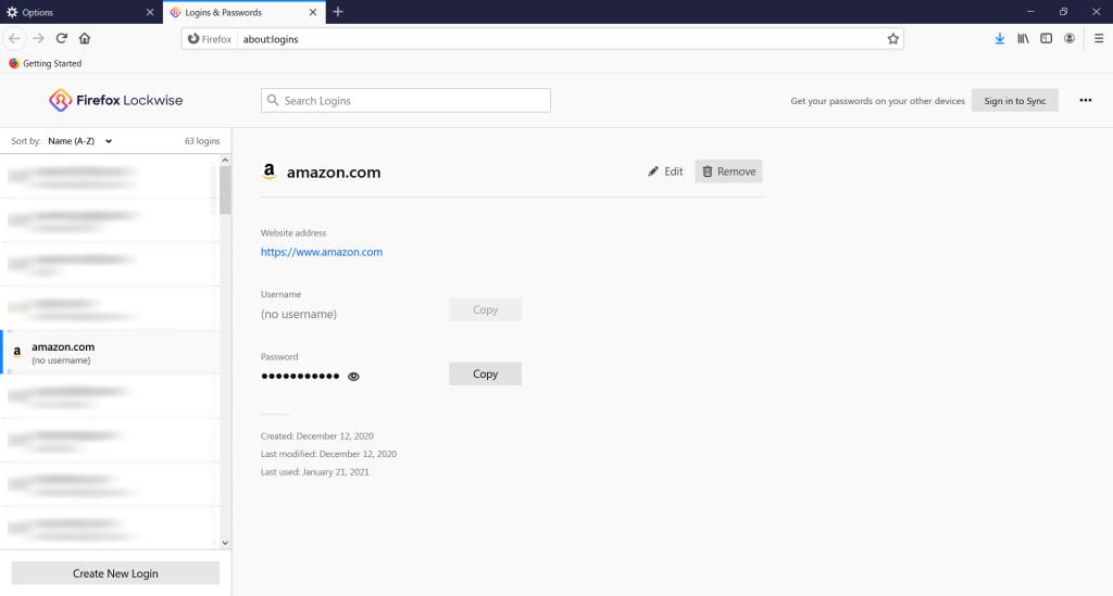 Firefox saved passwords screen