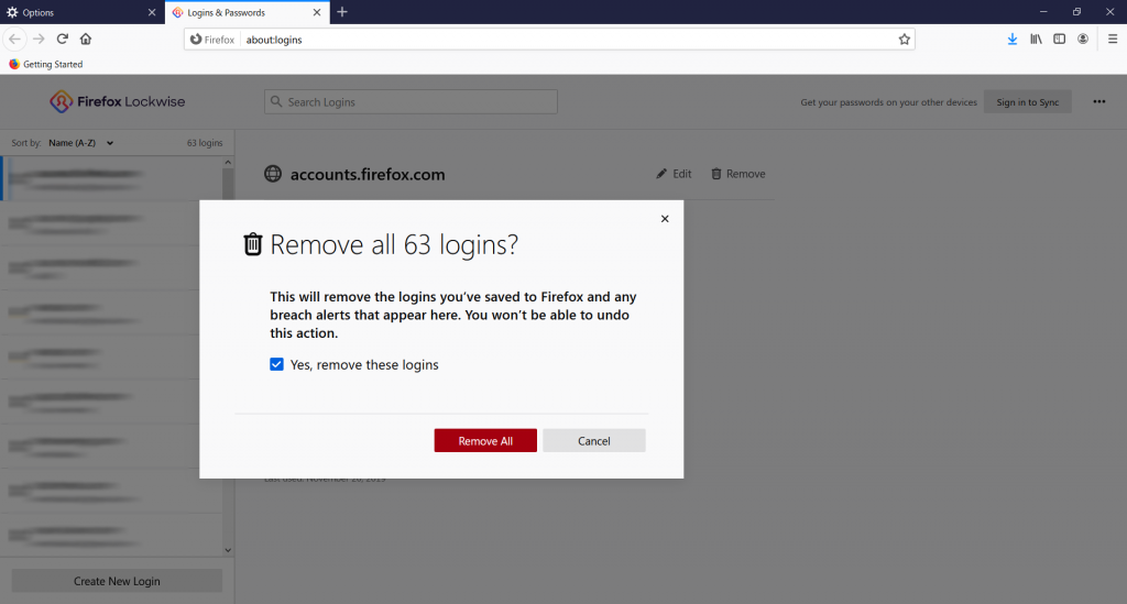 Firefox remove all passwords prompt